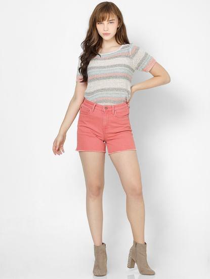 Beige Striped Knit Pullover