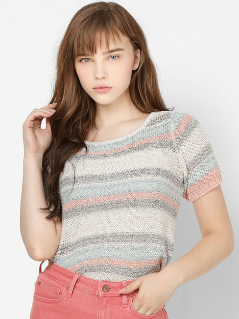 Beige Striped Knit Pullover