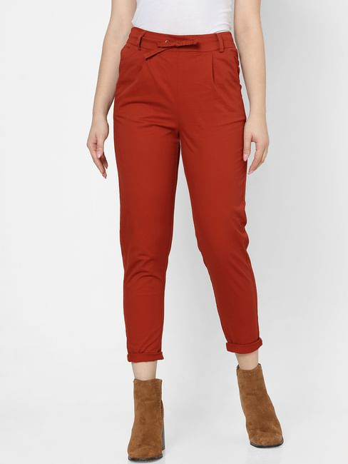 Brown High Rise Straight Fit Drawstring Pants