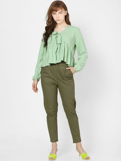 Green High Rise Straight Fit Drawstring Pants