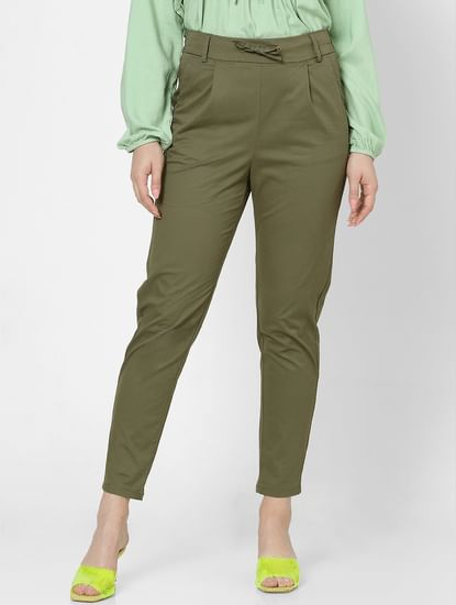 Green High Rise Straight Fit Drawstring Pants