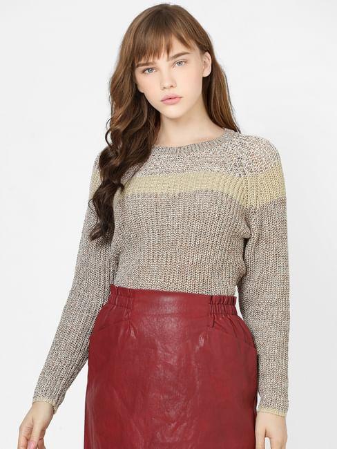 Beige Colourblocked Knit Pullover