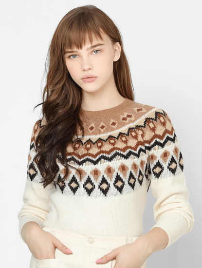 White Jaquard Pullover