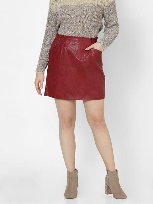 Orange Faux Leather High Waist Mini Skirt