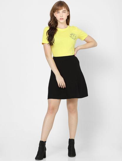 Black Flared High Waist Mini Skirt