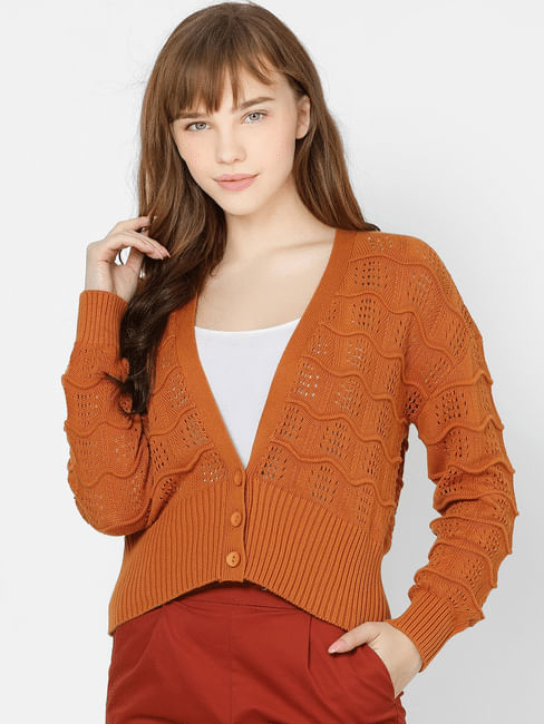 Brown Cut Out Detail V Neck Cardigan