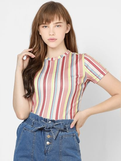 Pink Multicoloured Striped Top