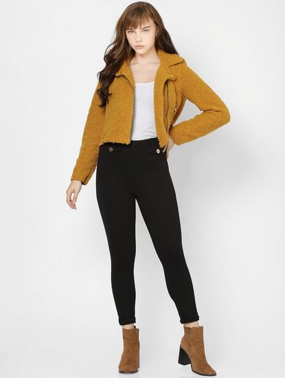Mustard Zip Detail Teddy Jacket