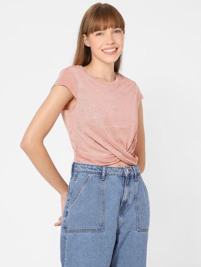 Pink Front Twist Top