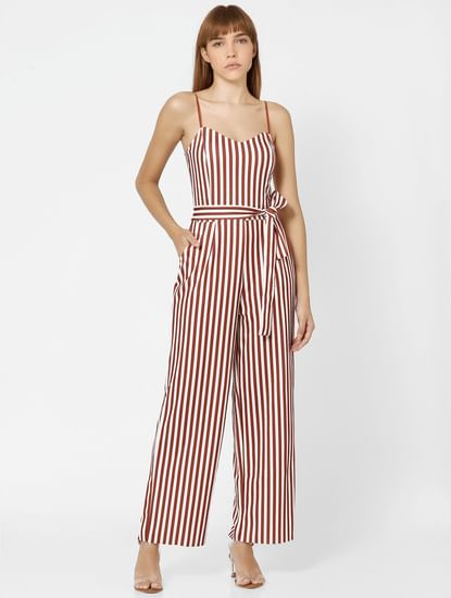 Brown Striped Front Tie Jumpsuit