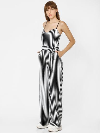 Black & White Striped Front Tie Jumpsuit