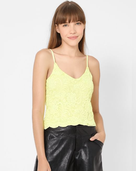 Yellow Lace Strappy Top