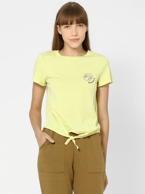 Yellow Organic Cotton Placement Print T-shirt