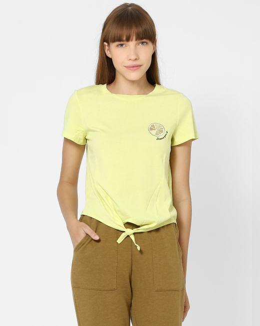 Yellow Organic Cotton Placement Print T-shirt