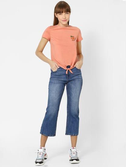 Peach Organic Cotton Placement Print T-shirt