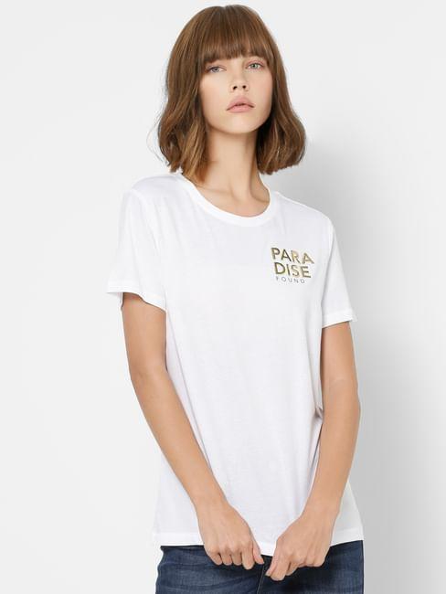 White Graphic Print Organic Cotton T-shirt