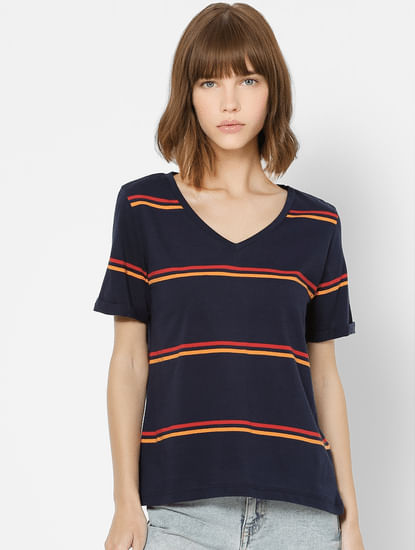 Dark Blue Striped T-shirt