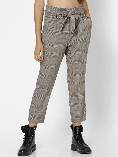 Grey High Rise Check Pants