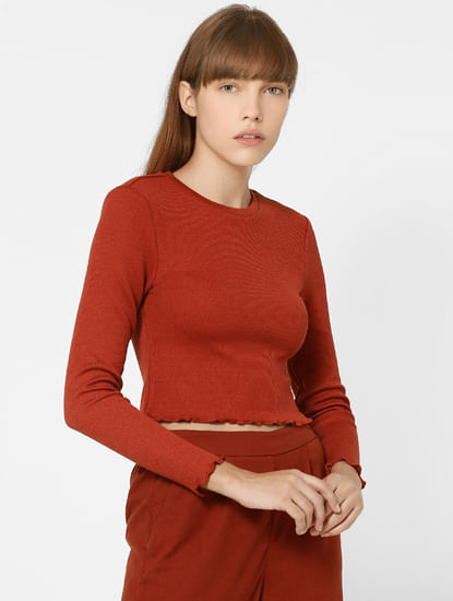 Red Jersey Cropped Top
