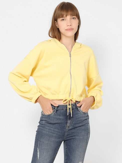 Yellow Zip Up Hooded Sweatshirt
