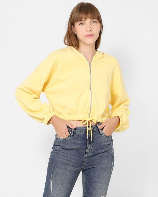 Yellow Zip Up Hooded Sweatshirt
