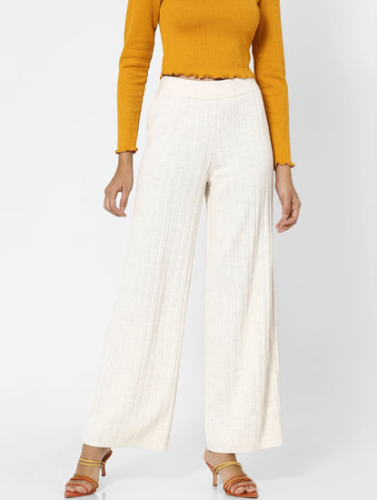 Beige High Rise Ribbed Pants