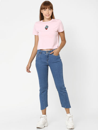 Pink Graphic Print Cropped T-shirt