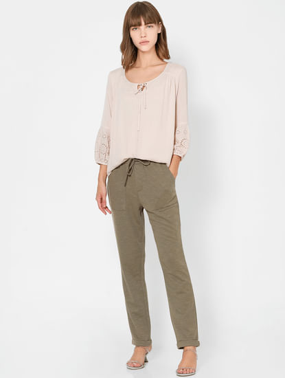 Light Pink Neck Tie-Up Top