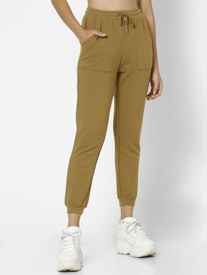 Brown Mid Rise Drawstring Sweatpants