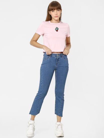 Blue High Rise Asymmetric Hem Flared Jeans