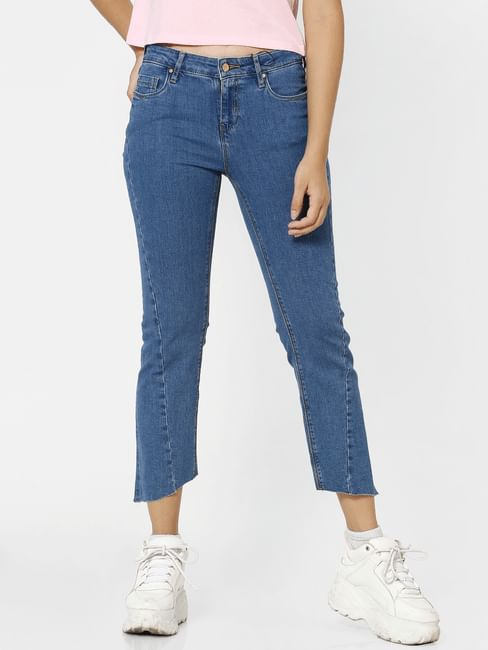 Blue High Rise Asymmetric Hem Flared Jeans