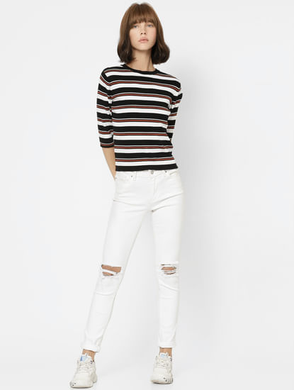 Black Striped Knit Top