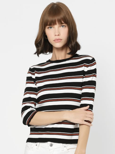 Black Striped Knit Top