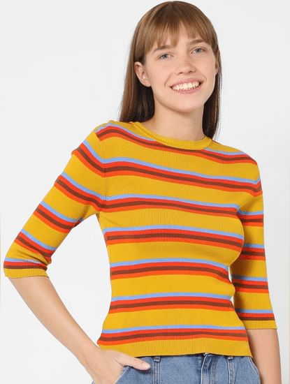 Yellow Striped Knit Top
