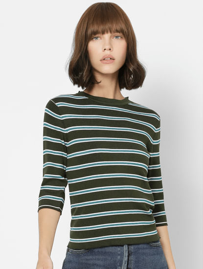 Dark Green Striped Knit Top