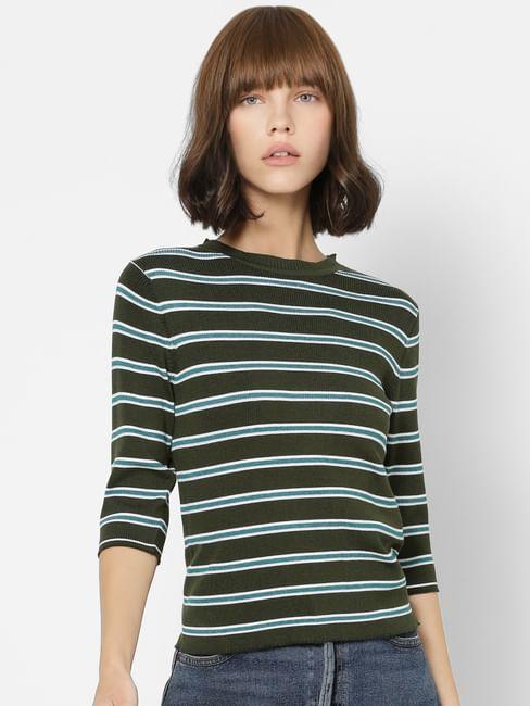 Dark Green Striped Knit Top