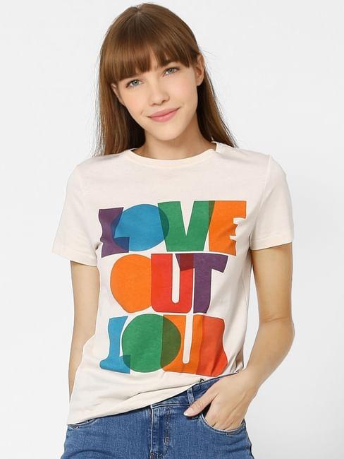 Beige Love Out Loud Text Print T-shirt