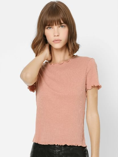 Pink Lettuce Hem Ribbed Top