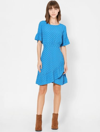Blue Polka Dot Fit & Flare Dress