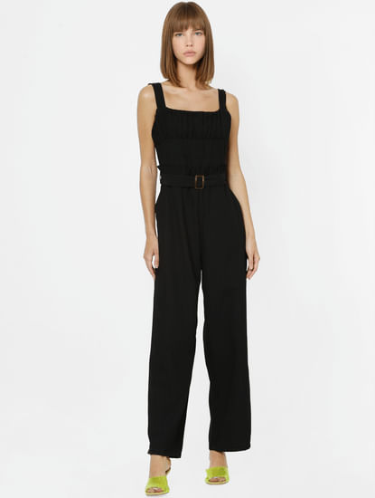Black Pleated Detail Jumpsuit