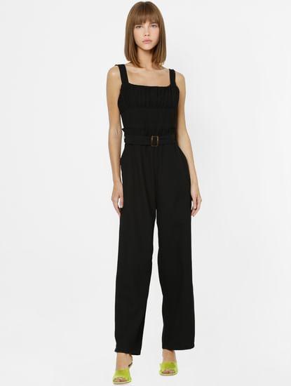 Black Pleated Detail Jumpsuit