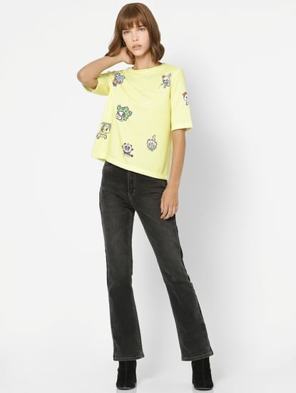 Yellow All Over Graphic Print Sweatshirt