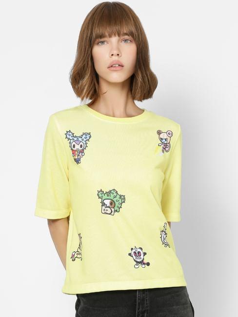 Yellow All Over Graphic Print Sweatshirt