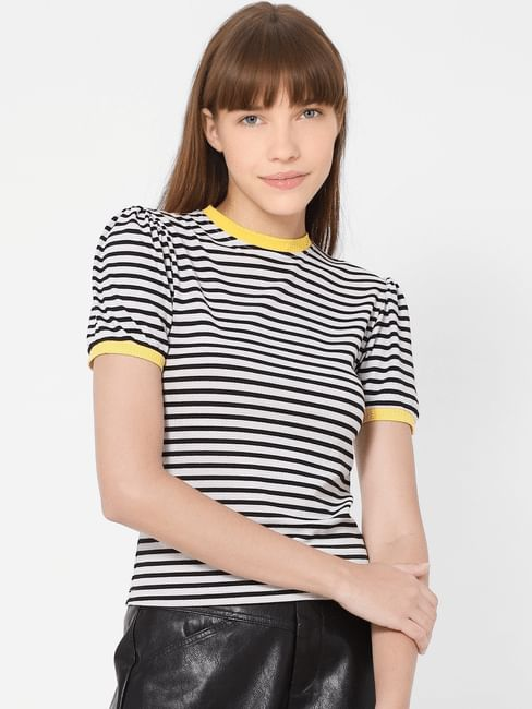Black & White Striped Contrast Tipping T-shirt