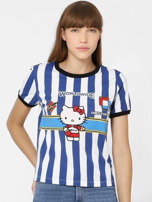 White Striped Hello Kitty Print T-shirt