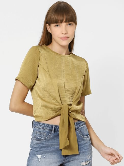 Olive Green Front Knot Top