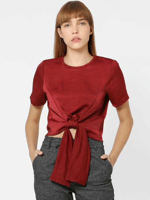 Maroon Front Knot Top