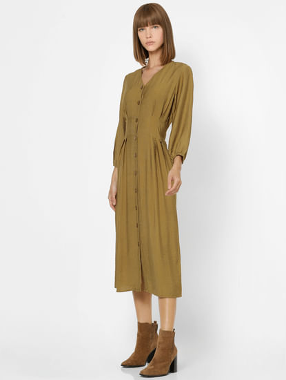 Olive Green Button Down Midi Dress