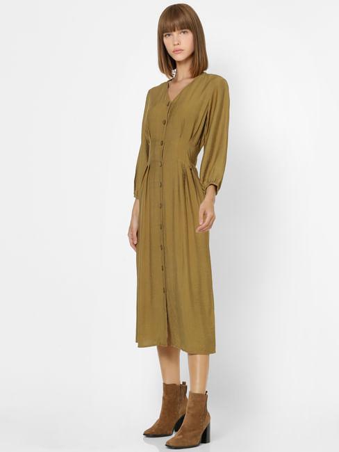 Olive Green Button Down Midi Dress