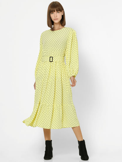 Yellow Polka Dot Midi Dress